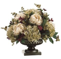 Silk Peony, Hydrangea, and Pompom Rose Floral Arrangement. For mom Peonies And Hydrangeas, Silk Peonies, Hydrangea Flower, Silk Hydrangea, Artificial Floral Arrangements, Faux Flower Arrangements, Peony Arrangement, Artificial Peonies, Faux Flowers
