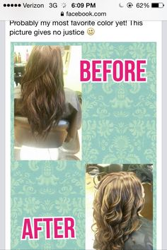 My hair first time getting hair dyed did some blonde burgundy highlights lowlights before & after pic <3