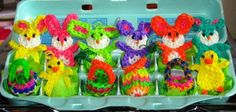 Rainbow Loom EASTER FIGURES. Loomed by Lucy Stamp.