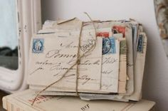 weathered letters, old stamps, calligraphy