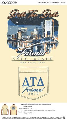 Delta Tau Delta Formal Shirt | Fraternity Formal Shirt | Greek Formal Shirt #deltataudelta #dtd #formal #downtown #sketch Fraternity Formal, Sorority And Fraternity, Delta Tau Delta, Custom Design Shirts, Columbia Blue, Color Shorts, Formal Shirts, Comfort Colors, Front Design