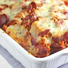Pizza Pasta Bake that is perfect for a weekday dinner and makes good leftovers!