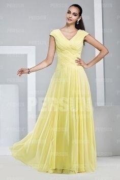 Simple Yellow V Neck Chiffon Long Bridesmaid Dress Dress Modest Bridesmaid  Dresses 7ccf8091a84e