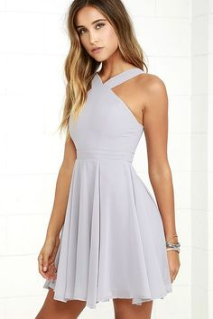 Lulus Exclusive! Our hearts will belong to the Forevermore Grey Skater Dress 'til the end of time! Semi-sheer shoulder straps form a modified halter neckline atop a fitted bodice with princess seams. A flirty skater skirt, composed of lightweight Georgette, flares below a banded waist. Hidden back zipper/clasp.