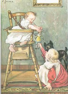 cornelis jetses afke's tiental prenten -with a doll Vintage Book Art, Vintage Cards, Vintage Prints, Call Art, Dutch Artists, Historical Pictures, Antique Art, Print Pictures, Vintage Children