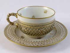 Exquisite Antique Sevres Porcelain Honeycomb Double Reticulated Cup Saucer