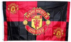 Manchester United Red Black Quadrant Large Flag with Club Crests NEW DESIGN
