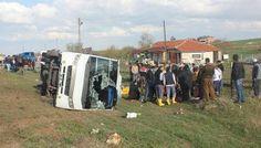 Ankara'da midibüs devrildi: 15 yaralı