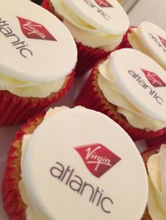 Corporate Cupcakes, printed with your own logo - a gift, marketing idea or present for your customers or clients. www.pinkaubergine.co.uk