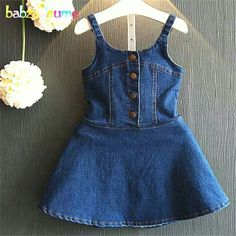2016 New Brands Summer Toddler Clothing Kids Clothes Baby Vest Dress Children Costume Fashion Denim Girls Dresses Toddler Outfits, Kids Outfits, Casual Outfits, Baby Girl Fashion, Kids Fashion, Korean Fashion, Denim Frocks, Dresses Kids Girl, Handmade Clothes