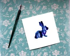 Rabbit Card, Watercolour Animal Card, Rabbit silhouette, bunny card, rabbit birthday card, rabbit blank card, with sympathy rabbit, star sky by BEEautifulcreatures on Etsy