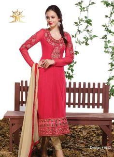 Sightly Red Faux Georgette Pakistani Churidar Suit http://www.angelnx.com/Salwar-Kameez/Churidar-Suits