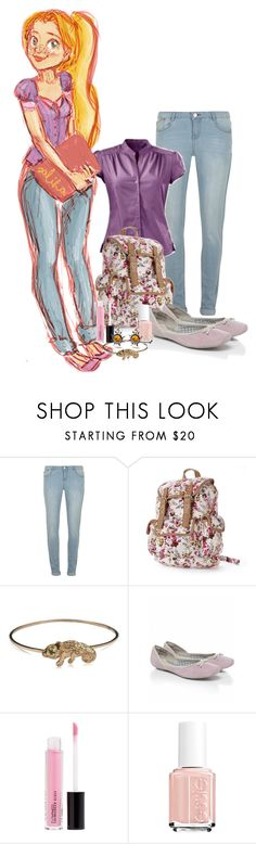 """""""Disney High school - Rapunzel"""" by not-by-sight ❤ liked on Polyvore featuring Dorothy Perkins, Candie's, DOMINIQUE LUCAS, J Shoes, MAC Cosmetics and Essie"""