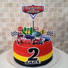 Cute Birthday Cakes, Cars Birthday Parties, Baby Birthday, Birthday Party Decorations, Pastel Rayo Mcqueen, Car Cake Toppers, Mcqueen Cake, Cake Smash, First Birthdays