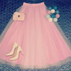 Long tulle skirt pink handmade wedding. Order by message or visit my shop https://www.facebook.com/cheremyha.store