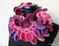 Crochet Scarf PATTERN Multicolor Scarf, DIY Crafts, Chunky Scarf, Unique Scarf Tutorial Instant Download PDF Pattern No.52, Lyubava Crochet