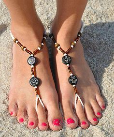 Another great find on #zulily! Brown & White Tribal Barefoot Sandal by SunSandals #zulilyfinds