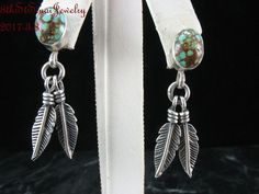 Estate Southwestern Sterling Silver 925 Turquoise Double Feather Post Earrings #M