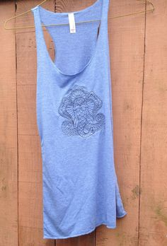 Yoga gear, AND wear under a blazer with heels?  Embroidered Blue Ganesh Yoga Tank / Ganesh by NewVintageEmbroidery