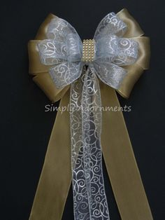 Filigree Silver Gold Wedding Pew Bow Silver by SimplyAdornmentsss