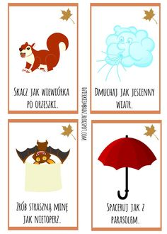 Dzieckiem bądź: Jesienne karty ruchowe DO DRUKU Party Activities, Toddler Activities, Drawing Games For Kids, Learn Polish, Dance Games, Inspiration For Kids, Kids Education, Classroom Decor, Kids And Parenting