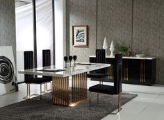 This Kingsley Modern Marble and Rose Gold Dining Table demonstrates an elegant design featuring an ethereal marble top and rose gold base. This design is perfect to add to an entryway, living room, di Marble Dinning Table, Dining Table Design, Modern Dining Table, Dining Table In Kitchen, Dining Chairs, Dining Set, Kitchen Chairs, Lounge Chairs, Interiores Art Deco