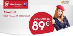 VOLA A/R CON AIR BERLIN DA 89 € – SOLO FINO AL 13 SETTEMBRE 2015