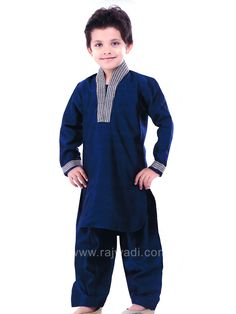 Navy Blue Boys Pathani Suit