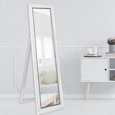 House of Hampton Lafferty Full Length Mirror Finish: White Woodgrain White Full Length Mirrors, Rustic Full Length Mirror, Full Length Mirror In Bedroom, Full Body Mirror, Mirror Room, Dresser With Mirror, Bedroom Corner, Room Decor Bedroom, Bedroom Ideas
