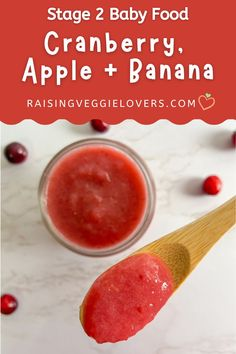 Cranberries are a rich source of vitamins, minerals and antioxidants. Try this Cranberry, Apple + Banana Baby Food for your 6 month+ plus baby. #babyfoodrecipes #stage2babyfood #cranberrybabyfood Baby Puree Recipes, Pureed Food Recipes, Baby Food Recipes, Apple Baby Food, Banana Baby Food, Healthy Baby Food, Healthy Kids, Feeding Baby Solids, Freezing Baby Food