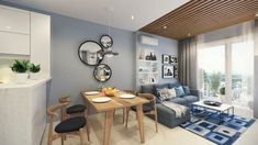 Basic Ideas About Small Apartment Interior Design Everyone has desire that her/his home looks perfect and have good interior design in it. Here are some small apartment interior design ideas for your home to make it look beautiful. Open Plan Apartment, Small Apartment Design, Small Apartment Living, Small Room Design, Small Apartment Decorating, Small Living Rooms, Living Room Designs, Apartment Ideas, Studio Apartment