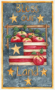 Evergreen Enterprises, Inc Bless Our Land Garden Flag Decoupage, Outdoor Flags, Painted Mason Jars, Fruit Art, Patriotic Decorations, Garden Flags, Flower Crafts, Fall Crafts, Fourth Of July