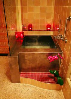 Japanese Baths - Stainless Steel. Okay - NOT THE COLORS. But the shape.  It is small with the shower next door separated by glass.  Deep soak yummy!