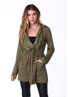 Cover Me Hooded Jacket in Olive | Necessary Clothing