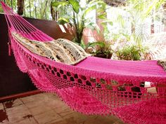 Fuchsia pink hammock, Double Hammock hand-woven Natural Cotton Simple Fringe from hamanica on Etsy. Double Hammock, Hammock Swing, Camping Hammock, Hammock Chair, Home Decoracion, Triangle Design, Relax, Everything Pink, Unique Colors