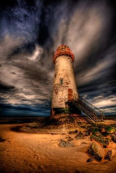 Point of Ayr on Talacre Beach, North Wales #lighthouse