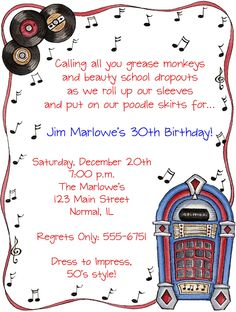 Image detail for 50s theme birthday party invitation adult 50s party invitations google search stopboris Gallery