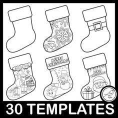 30 different black and white Christmas Stocking Templates for your students to decorate.Includes a template that is a reverse image so you can decorate the back and join them together. A variety of plain stocking outlines as well as more decorative ones. Suitable for a range of ages and abilities. ... List Of Activities, Classroom Activities, Christmas Stocking Template, White Christmas Stockings, Xmas Wishes, Holiday Break, Santa Letter, Paper Lanterns, Outlines