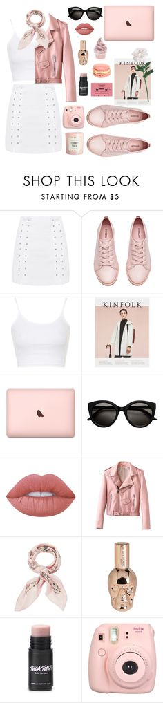 """""""girly vibes"""" by youvegotraye ❤ liked on Polyvore featuring Topshop, H&M, Lime Crime, Manipuri, Hot Topic and Fujifilm"""