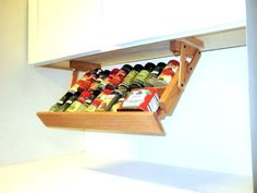 Ultimate Kitchen Storage Under Cabinet Spice Rack, Handmade Hardwood, Holds 16 Large or 32 Small Spice Containers Cabinet Spice Rack, Diy Spice Rack, Spice Shelf, Spice Storage, Spice Organization, Diy Storage, Storage Ideas, Wooden Spice Rack, Organizing