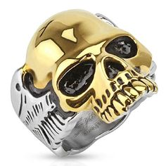 Gold Skull Two Tone Biker Ring with Wings on side – SkullJewelry.com
