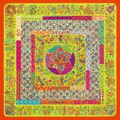 Silk twill scarf PIQUÉ FLEURI DE PROVENCE. #Hermes #Silk #Green
