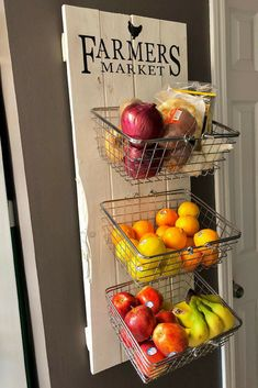 Farmers Market Rustic Produce Wall Hang Kitchen Fruit and Vegetable Produce Storage kitchen storage #ad #farmhousedecor #farmhousekitchen #kitchendecor #farmersmarket #rusticdecor #kitchenstorage #storage #professionalpinner