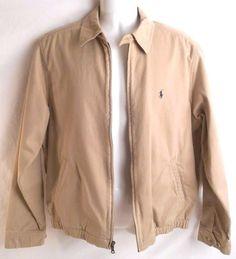 POLO RALPH LAUREN Mens Jacket Full Zip Size S Pony Beige Cotton #PoloRalphLaurenjacket #mensjacket