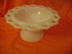 "Anchor Hocking MILK GLASS Lace Edge Compote Pedestal Bowl 7"" Display Dish vtg"