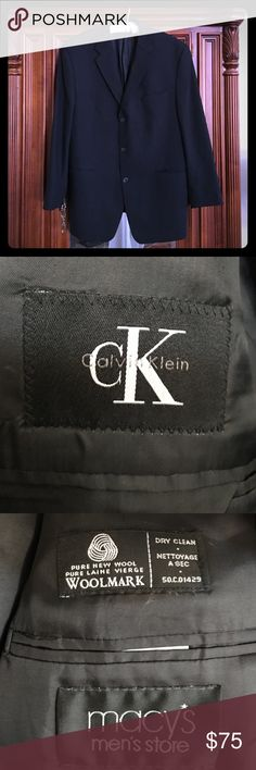 🎀Men's CK Calvin Klein Blk. Blazer🎀 This is a CK black blazer by Calvin Klein. Single breasted, pure wool with 3 outside pockets and 3 inside pockets. In excellent condition, used maybe twice. Dry clean only. CK Calvin Klein Suits & Blazers Sport Coats & Blazers