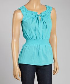 Another great find on #zulily! Prestige Edge Turquoise Sleeveless Peasant Top by Prestige Edge #zulilyfinds