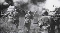 Battle of Kursk - T-34 tanks and Soviet infantry advance during Operation Kutuzov, which was a Soviet counteroffensive resulting in the capture of Orel, August 1943.