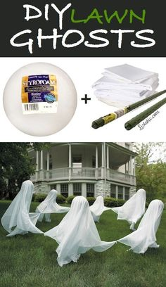 DIY Lawn Ghosts diy craft halloween crafts how to mason jars tutorials halloween decorations halloween crafts halloween diy halloween decor halloween ghosts halloween porch decor Moldes Halloween, Adornos Halloween, Halloween 2018, Holidays Halloween, Helloween Party, Diy Halloween Dekoration, Homemade Halloween Decorations, Halloween Yard Ideas, Halloween Porch