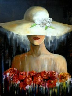Buy Mistero, a Oil on Canvas by Anna Rita Angiolelli from Italy. It portrays: Women, relevant to: rose, sexy, donna, ritratto, Fiori, cappello, Misterioso Ritratto di donna parzialmente coperta da un grande cappello con rose sullo sfondo.Realizzato con colori a olio su fondo di colori acrilici misura cm.45x60. Painting also on the edges, it does not require a frame